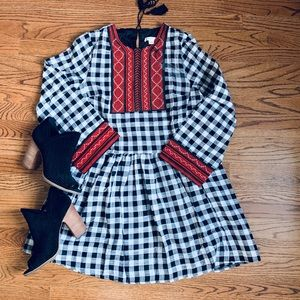 Plaid Embroidered Dress